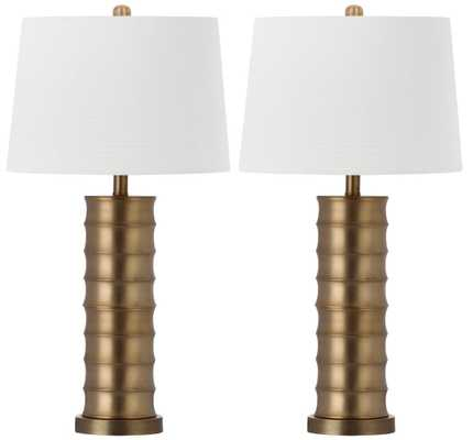 LINUS BRASS COLUMN TABLE LAMP -SET OF 2 - Arlo Home