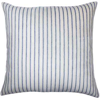 "Maaike Striped Pillow Blue - 18"" x 18"" - poly - Linen & Seam"