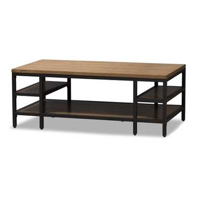 BAXTON STUDIO CARIBOU RUSTIC INDUSTRIAL STYLE OAK BROWN FINISHED WOOD AND BLACK FINISHED METAL COFFEE TABLE - Lark Interiors