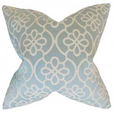 "Indre Geometric Pillow Sea Foam - 18"" x 18"" - Down Insert - Linen & Seam"