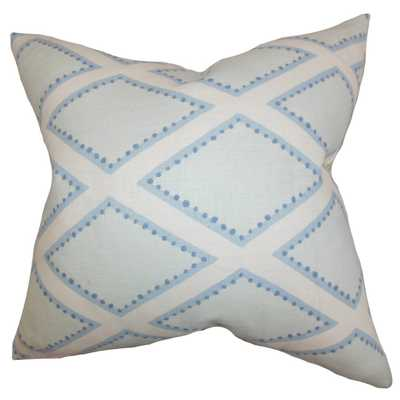 "Alaric Geometric Pillow Chambray - 18"" x 18"" - Down insert - Linen & Seam"