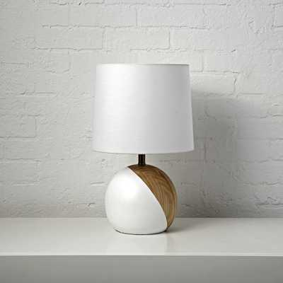 White and Wood Table Lamp - Crate and Barrel
