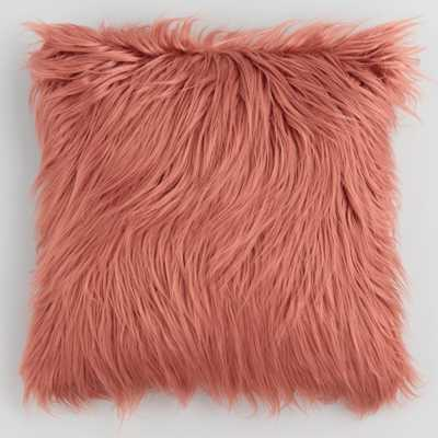 Dark Coral Mongolian Faux Fur Throw Pillow by World Market - World Market/Cost Plus