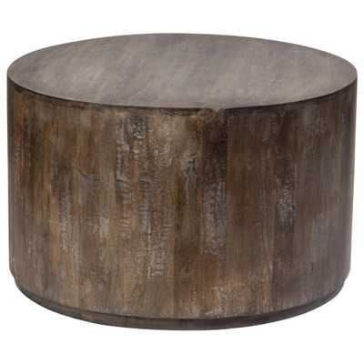 Gray Wash Mango Wood Round Drum Coffee Table - Home Depot