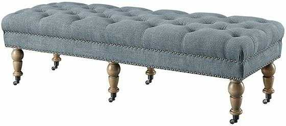 Isabelle Washed Blue Bench - Home Depot