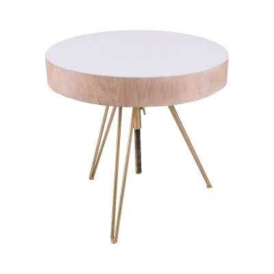 Biarritz Suar Wood Accent Table With Gold Metal Legs - Rosen Studio