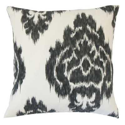 Mahendra Ikat Pillow Jet - Poly Insert - Linen & Seam