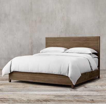 Printmaker's Storage Bed - Queen, Antiqued Pine - RH