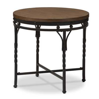 Baxton Studio Austin Vintage Industrial Antique Bronze Round End Table - Lark Interiors