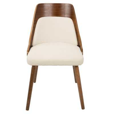 Anabelle Mid-Century Walnut and Cream Modern Dining Chair, Ivory/Brown - Hollis Modern