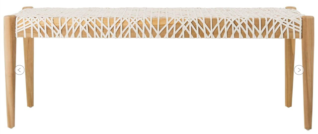 Bandolier Leather Weave Bench - Arlo Home