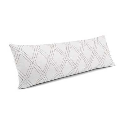 Large Lumbar Pillow with Down Insert - Diamonds Are Forever - Ash - Loom Decor