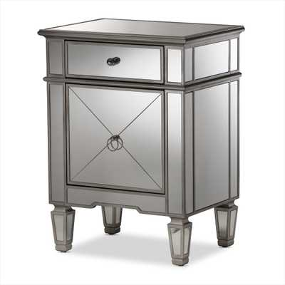 BAXTON STUDIO CLAUDIA HOLLYWOOD REGENCY GLAMOUR STYLE MIRRORED NIGHTSTAND - Lark Interiors