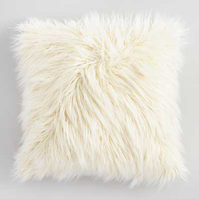 "Ivory Mongolian Faux Fur Throw Pillow: White - 18"" Square by World Market - World Market/Cost Plus"