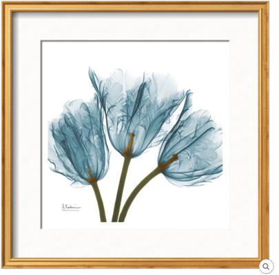 """TULIPS IN BLUE - 13""""x13"""" (18""""x18"""" Framed) Art Print - COVENTRY Gold Thin Frame - Linen Off White 2.25"""" Mat - art.com"""
