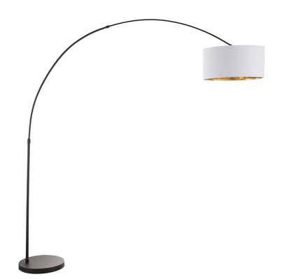 Salon Floor Lamp - black with white shade/gold accent - Hollis Modern