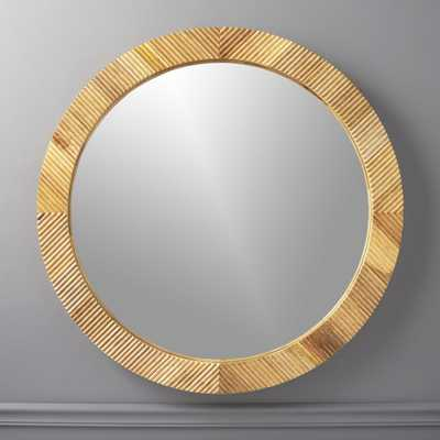 "Darron Round Wood Mirror 36"" - CB2"