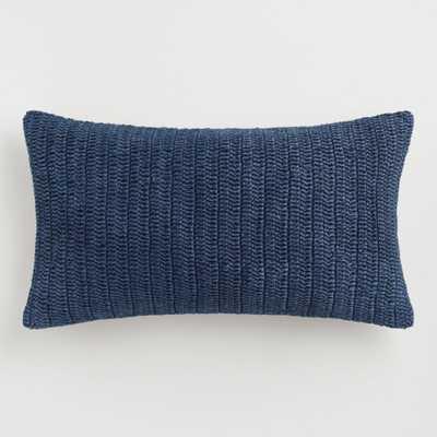 Oversized Indigo Knitted Villa Rina Lumbar Pillow: Blue - Linen by World Market - World Market/Cost Plus