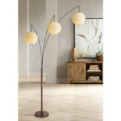 Jojo Bronze Arc Floor Lamp with 3 Paper Lantern Shades - Lamps Plus