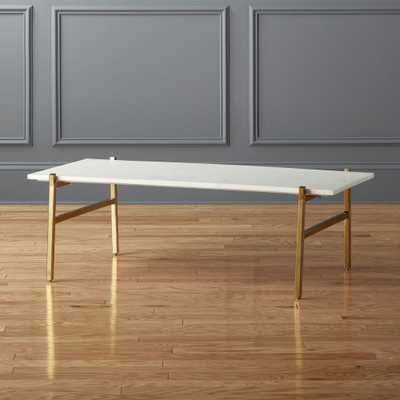 Slab Small Marble Coffee Table with Brass Base - CB2