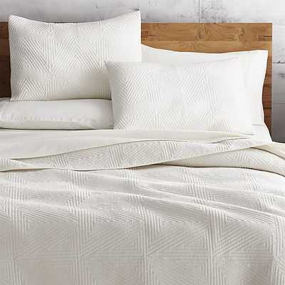 Triangle Ivory Bedding Queen- Coverlet - CB2