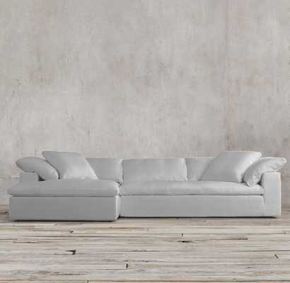 CLOUD RIGHT-ARM SOFA - Petite depth, 100%feather fill - Washed Belgian Linen,Mist - RH