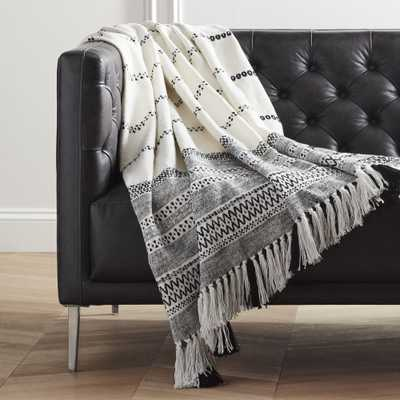 Jema Black and White Throw with Tassels - CB2