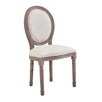 EMANATE VINTAGE FRENCH UPHOLSTERED FABRIC DINING SIDE CHAIR IN BEIGE - Modway Furniture
