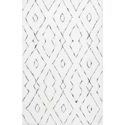 nuLOOM Handmade Soft and Plush Diamond Lattice Shag White Rug (7'6 x 9'6) - Overstock