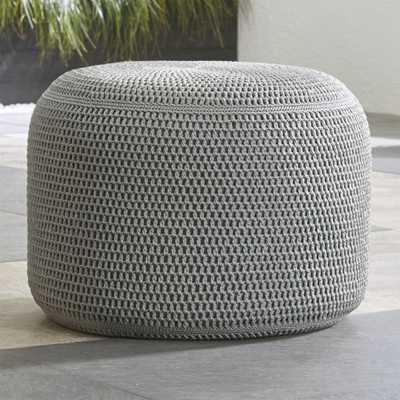 Grey Outdoor Pouf - Crate and Barrel - Crate and Barrel