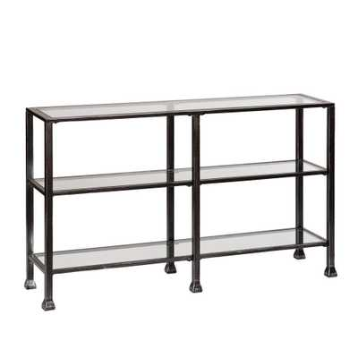 Galena Black Metal/Glass 3-Tier Media Stand/Console Table - Home Depot