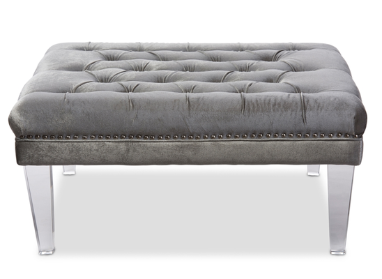 LUX TUFTED OTTOMAN BENCH WITH ACRYLIC LEGS - Lark Interiors