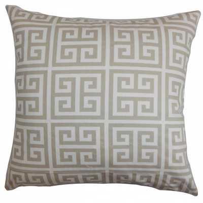"Paros Greek Key Pillow Grey - 20"" x 20"" - Down Insert - Linen & Seam"
