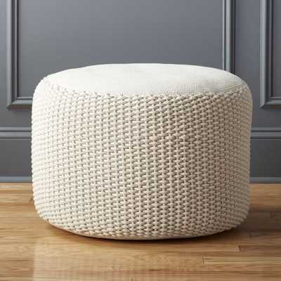 Criss Knit Natural Pouf - CB2
