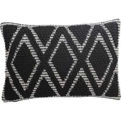 "18""x12"" black and white diamond pillow with down-alternative insert - CB2"