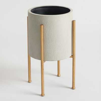 Medium Gray Planter With Brass Stand - World Market/Cost Plus