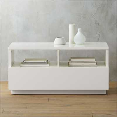 chill white mini media console - CB2