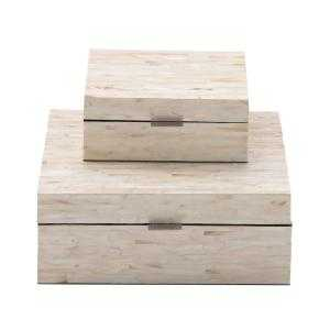 Multiple Decorative Boxes with Off-White and Tan Rectangular Mother of Pearl Tile Inlay (Set of 2 - Home Depot