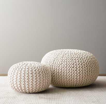 Metallic Knit Cotton Round Pouf Large - Natural/silver - RH