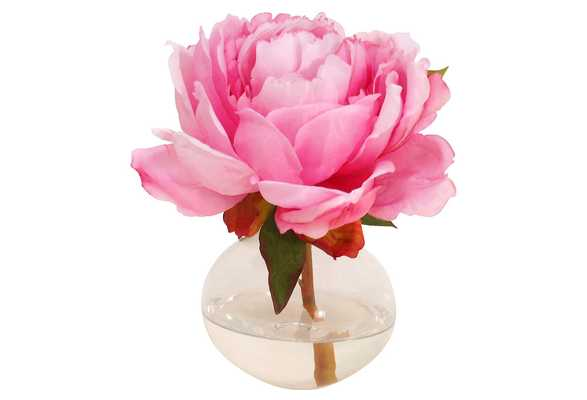 "7"" Peony in Bubble Vase, Handcrafted, Faux - One Kings Lane"