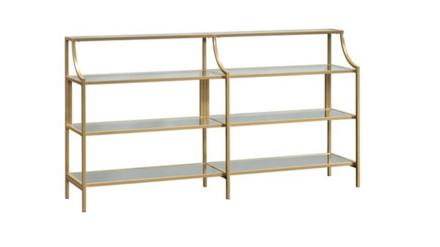 International Luxury Console Table Satin Gold/Clear Glass Finish - Sauder - Target
