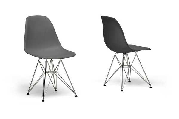 BAXTON STUDIO GREY PLASTIC SIDE CHAIR (SET OF 2) - Lark Interiors
