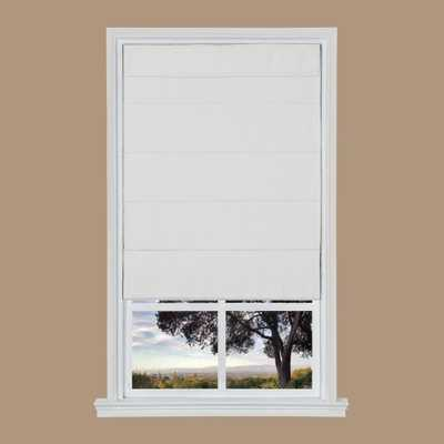 White Texture Cordless Fabric Roman Shade - 31 in. W x 64 in. L - Home Depot