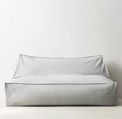 DISTRESSED CANVAS WIDE BEAN BAG LOUNGER - GREY - RH Teen