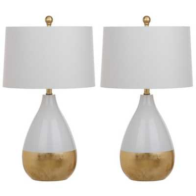 Safavieh Lighting Kingship 24-Inch White And Gold Table Lamp (Set of 2) - Hayneedle