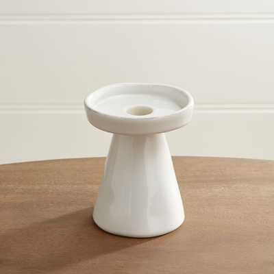 Marin White Small Taper/Pillar Candle Holder - Crate and Barrel