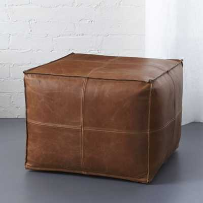 LEATHER POUF-Saddle - CB2