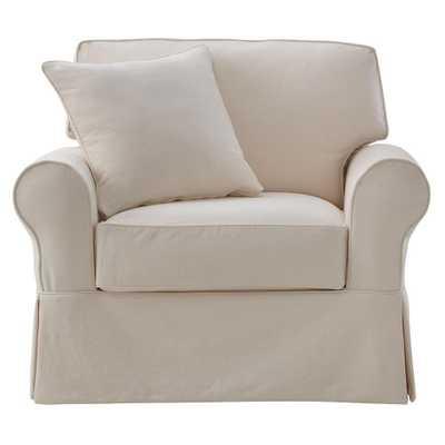 Mayfair Classic Natural Fabric Arm Chair - Home Depot