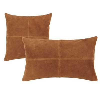 "Sueded Leather Throw Pillow - Camel, 12""x20"" - Ballard Designs"