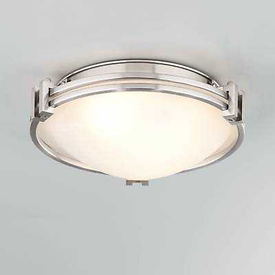"Art Deco Ceiling Light Flush Mount Fixture Brushed Nickel 12.75"" Bedroom Kitchen - eBay"